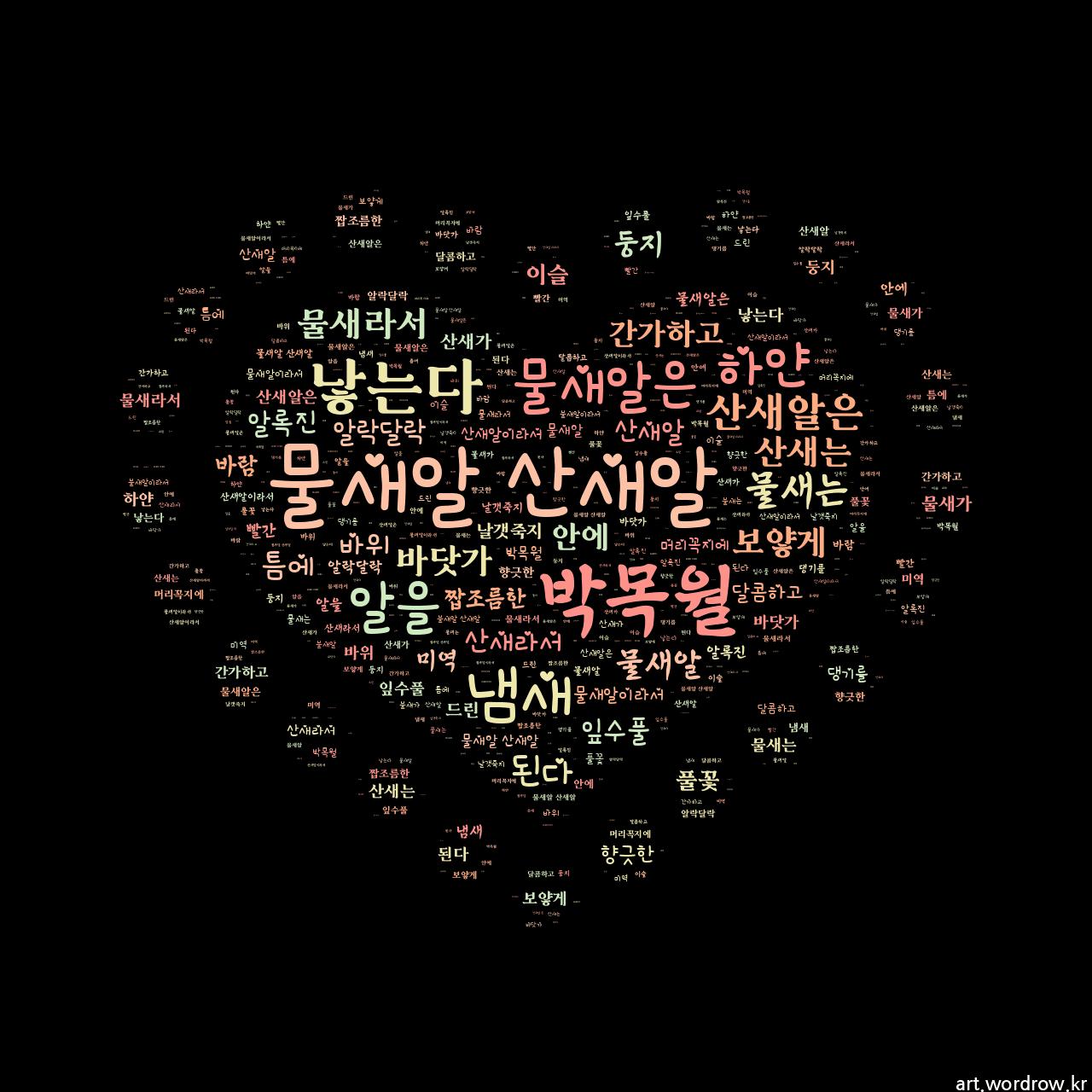 워드 클라우드: 물새알 산새알 [박목월]-7